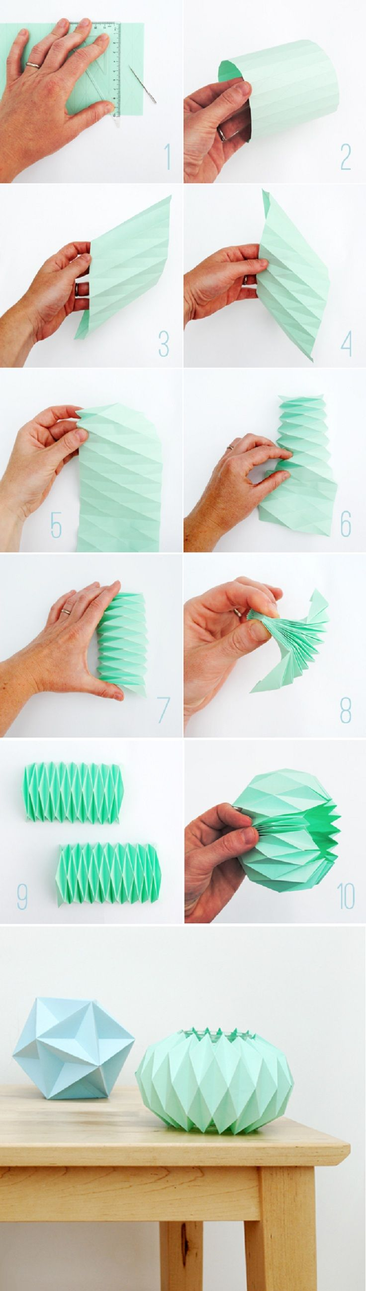 paper fold, use the technique to make a new lampshade to the string lamp. Is it possible to make it in starched fabric?