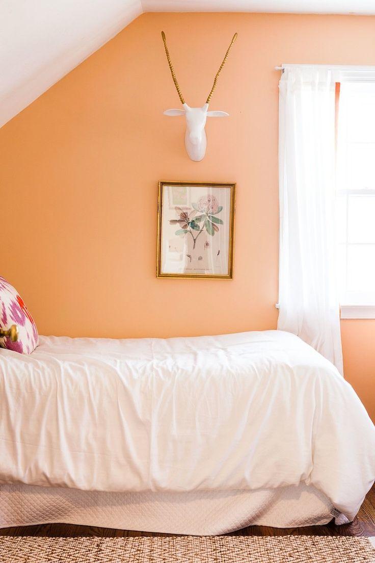 покраска стен на фото абрикосовый и персиковый