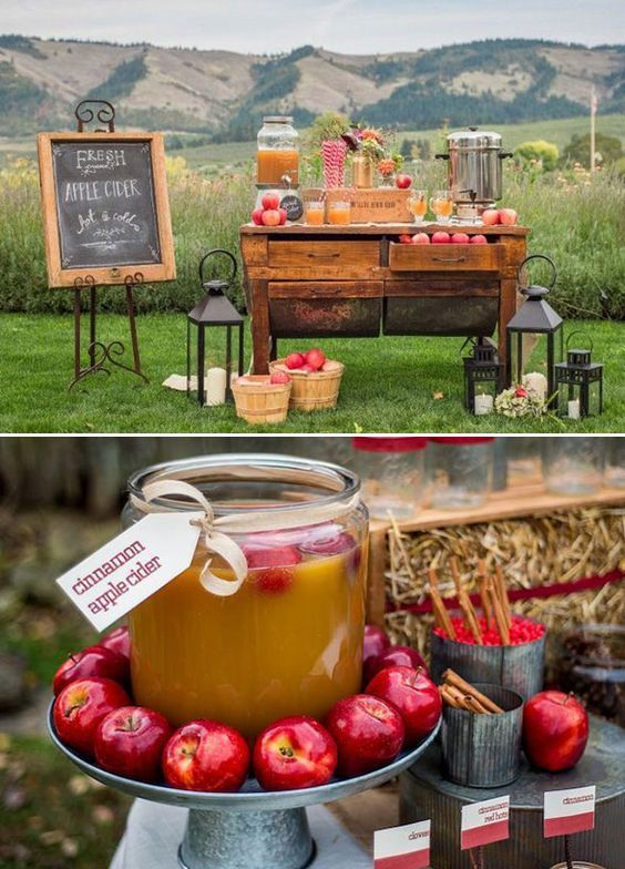 Warm apple cider fall wedding table decor / http://www.deerpearlflowers.com/autumn-fall-wedding-ideas/