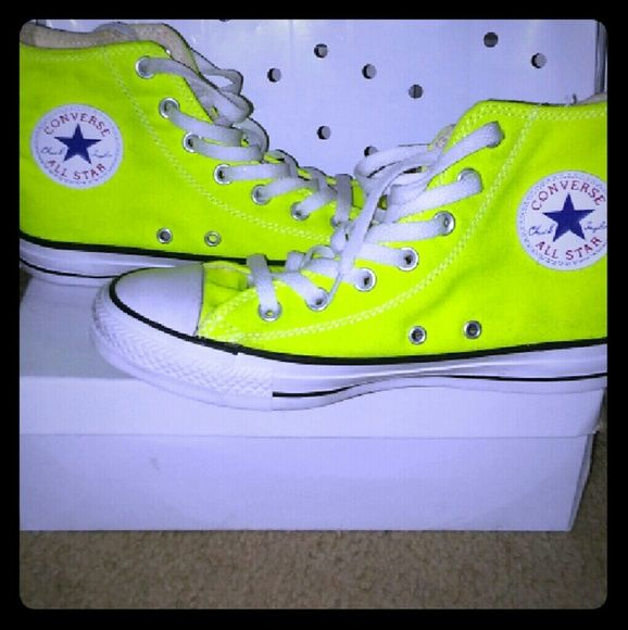 Bright Neon Yellow High Top Converses