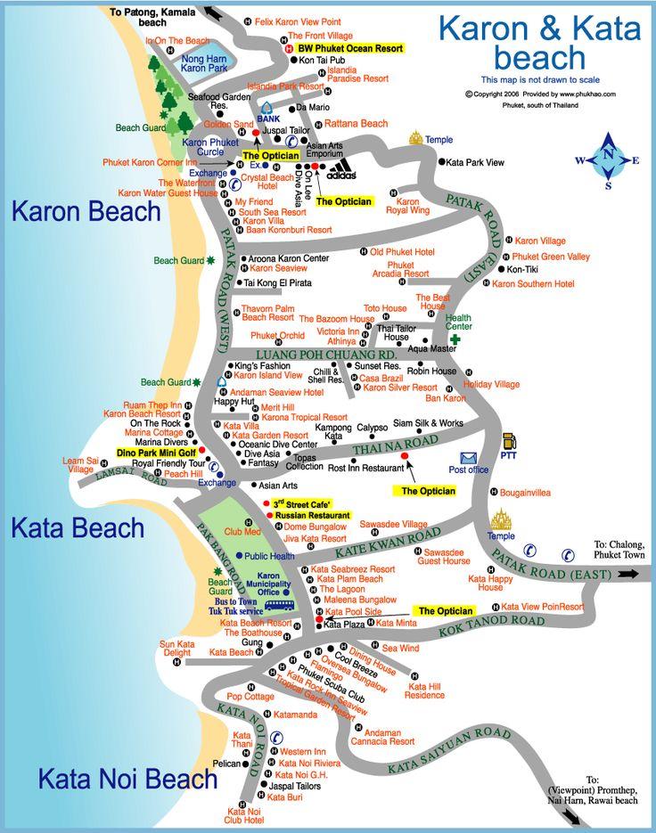 kata beach Phuket Thailand Attractions map | Kata Beach Tourist Map - kata beach • mappery