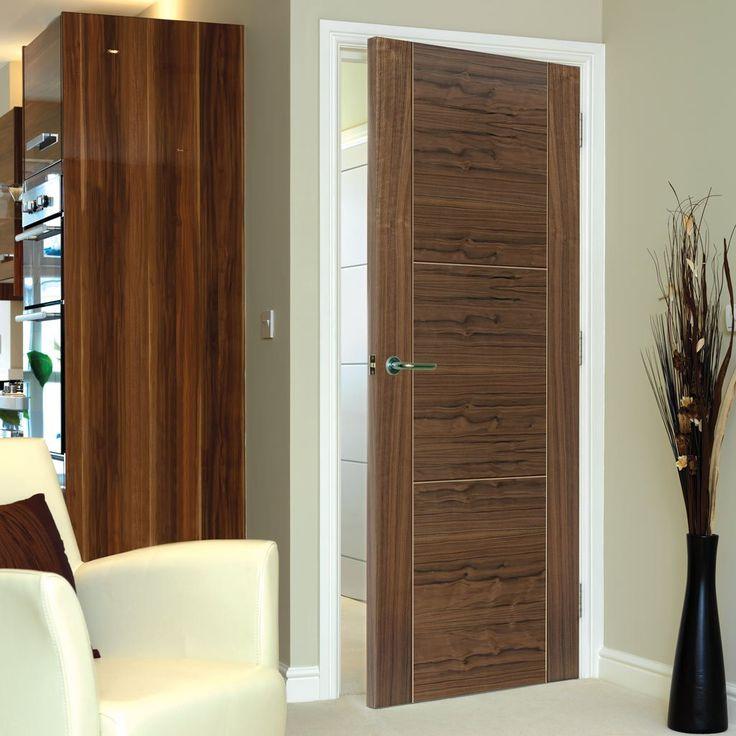 JB Kind Brisa Mistral Flush Walnut Veneered Door with Decorative Groove, Pre-finished. #brisamistraldoor #internalflushdoor #internalwalnutdoor