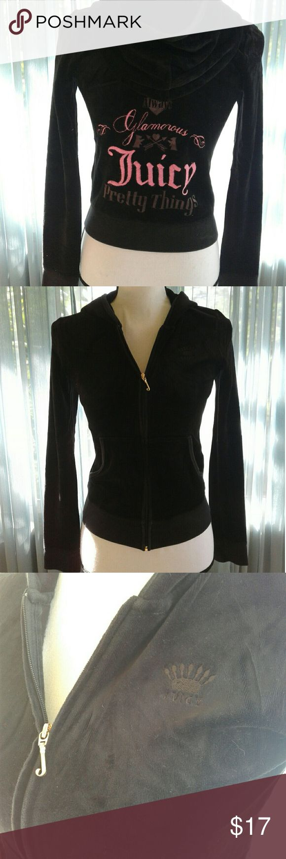 """Juicy couture velour hoodie Women's very gently pre loved black velour juicy couture hoodie with beautiful pink juicy logo on back. Size tag is missing with tiny hole, Please see pictures. fits XSmall. Measurements chest 17"""" length 20"""". Thanks for looking! Bundle to save!! Juicy Couture Tops Sweatshirts & Hoodies"""