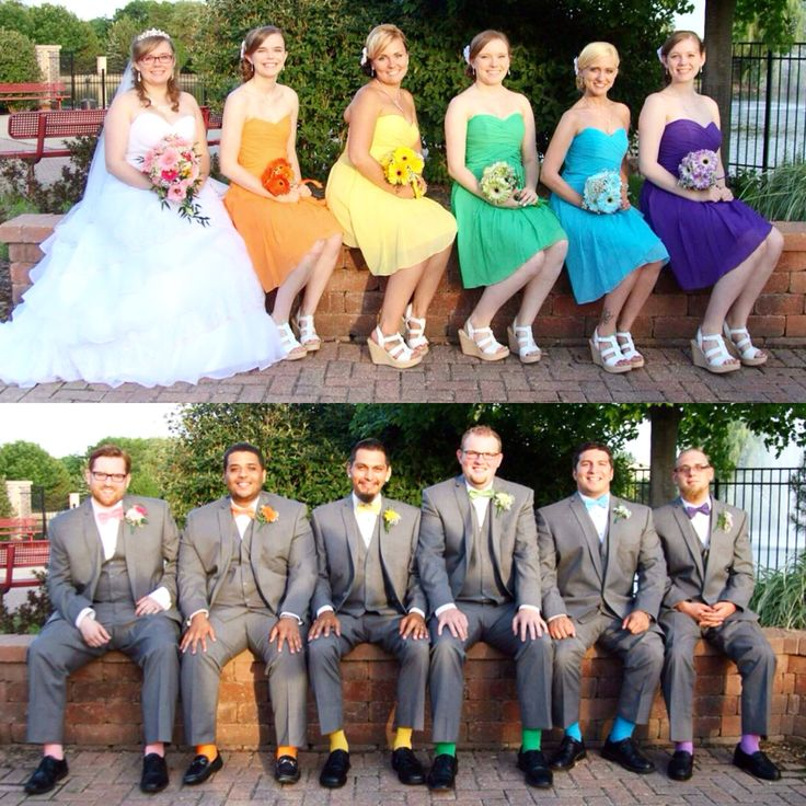 Rainbow Wedding Multicolored Bridesmaids With Coordinating Groomsmen Love Of Weddings Pinterest And