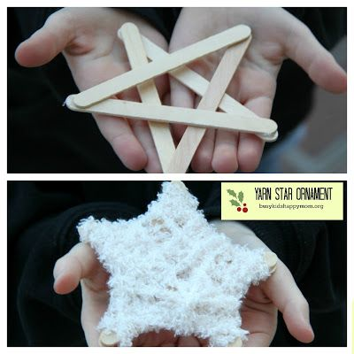 Yarn Star Ornaments - great fine motor activity. Love this idea. Could do geometric shapes and ...