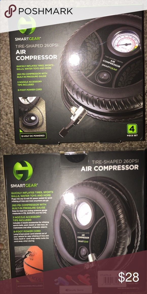 Smart Gear Tire Shaped Air Compressor Brand new includes 9 foot power cord, 3 nozzle accessory tips, 260 psi compressor with built in pressure gauge smartgear Accessories
