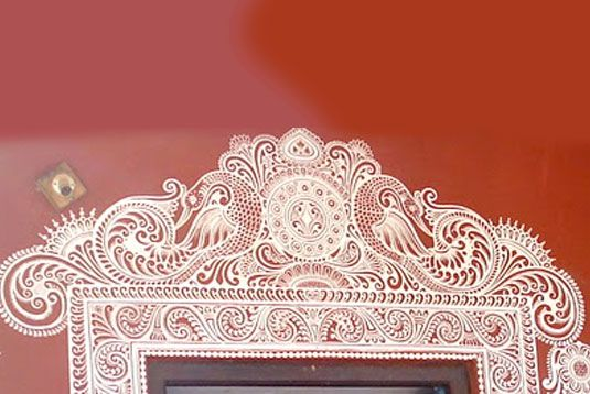 """""""Jhoti or Chita is the traditional Oriya art on the floor and walls, very popular in the rural areas... While rangolis are made using coloured powders, jhoti involves line art using the traditional white coloured, semi liquid paste of rice or pithau. The fingers are used as brushes in this art form."""""""