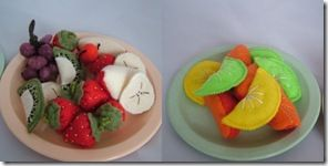 Tons of felt food tutorials!  Cute, less expensive than the plastic stuff, DIY-able and customiseble.