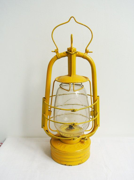 yellow oil lamp industrial decor storm by VintageFrenchDecor, $60.00