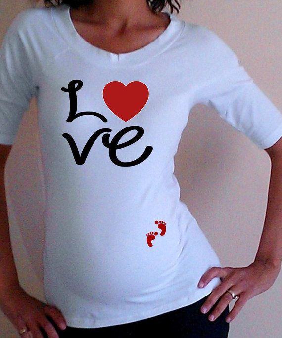 Funnycute maternity Shirt Love with footprints by DJammarMaternity, $24.99      aww I love this!