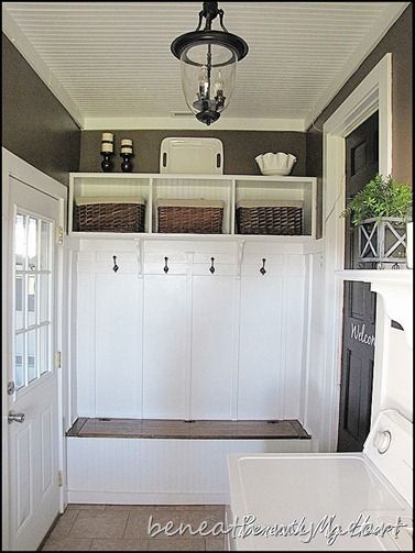 laundry room- Tips on giving your 'newer home' an 'older home' feel. Love this!! It's EXACTLY what I want to do!!
