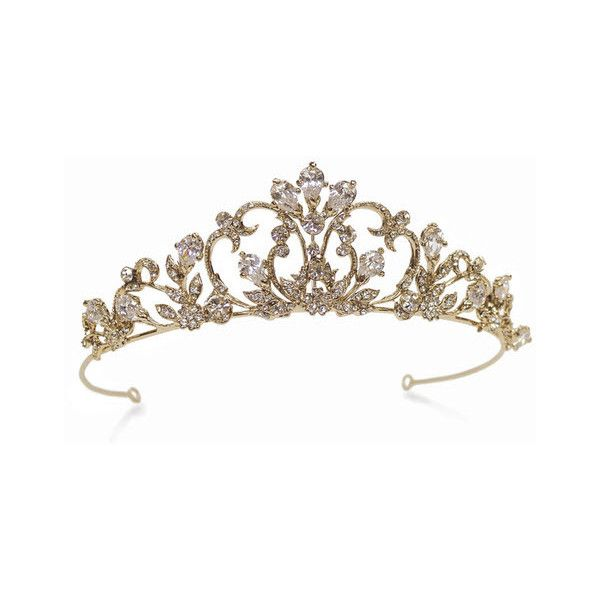 Calypso Swarovski Crystal Gold Tiara ($235) ❤ liked on Polyvore featuring accessories, hair accessories, tiara, crowns, jewelry, medieval, tiara crown and gold crown