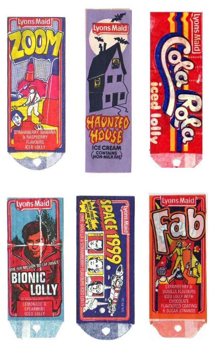 Lyons Maid lolly wrappers - Zoom, Haunted House, Cola Rola, Bionic Lolly, Space 1999 and Fab ice lollies.
