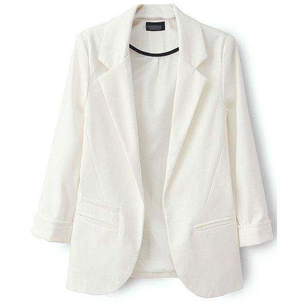 LUCLUC White Boyfriend Ruched Pockets 3/4 Sleeve Blazer ($40) ❤ liked on Polyvore featuring outerwear, jackets, blazers, pocket jacket, white blazer, three quarter sleeve jacket, white boyfriend jacket and white boyfriend blazer