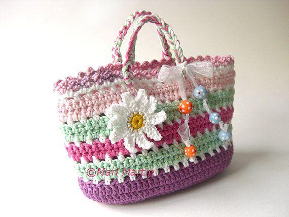 Crochet Bag DIY PDF Pattern Purse Daisy Flower by MariMartin, $4.50