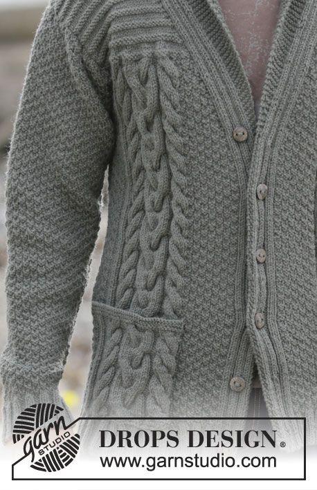 Gebreid DROPS herenvest met kabels en sjaalkraag van Lima. Maat: S - XXXL. Gratis patronen van DROPS Design.
