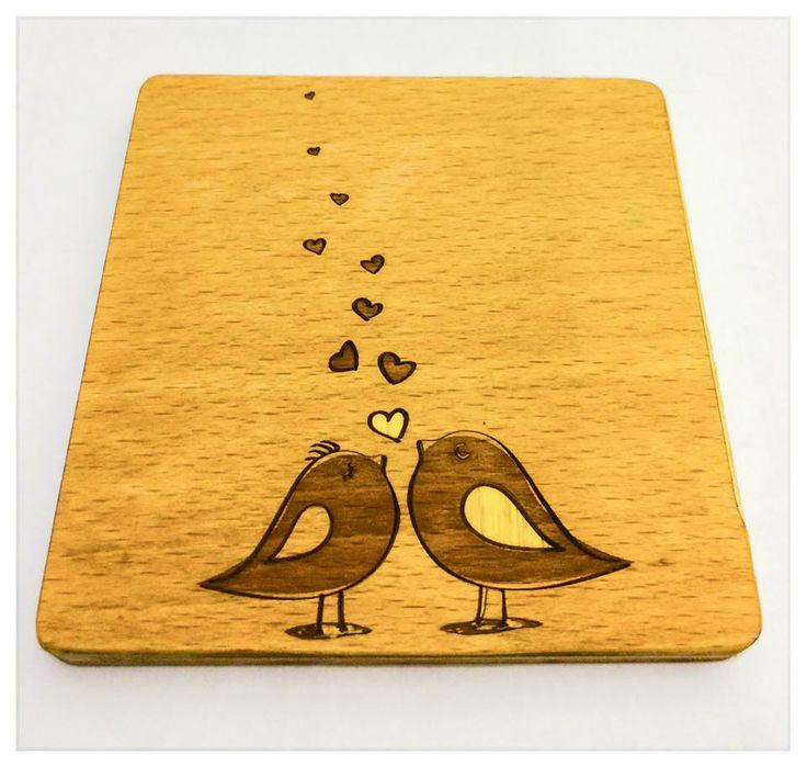 handmade wooden laser engraved coaster. bids in love...