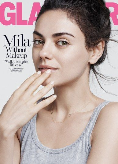 Mila Kunis goes makeup-free on the August cover of Glamour