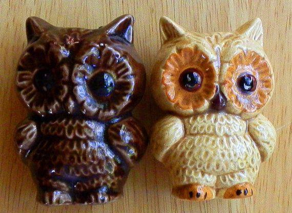 Two Vintage Ceramic Owls For Macrame Designing by CallieAndTaz, $10.00