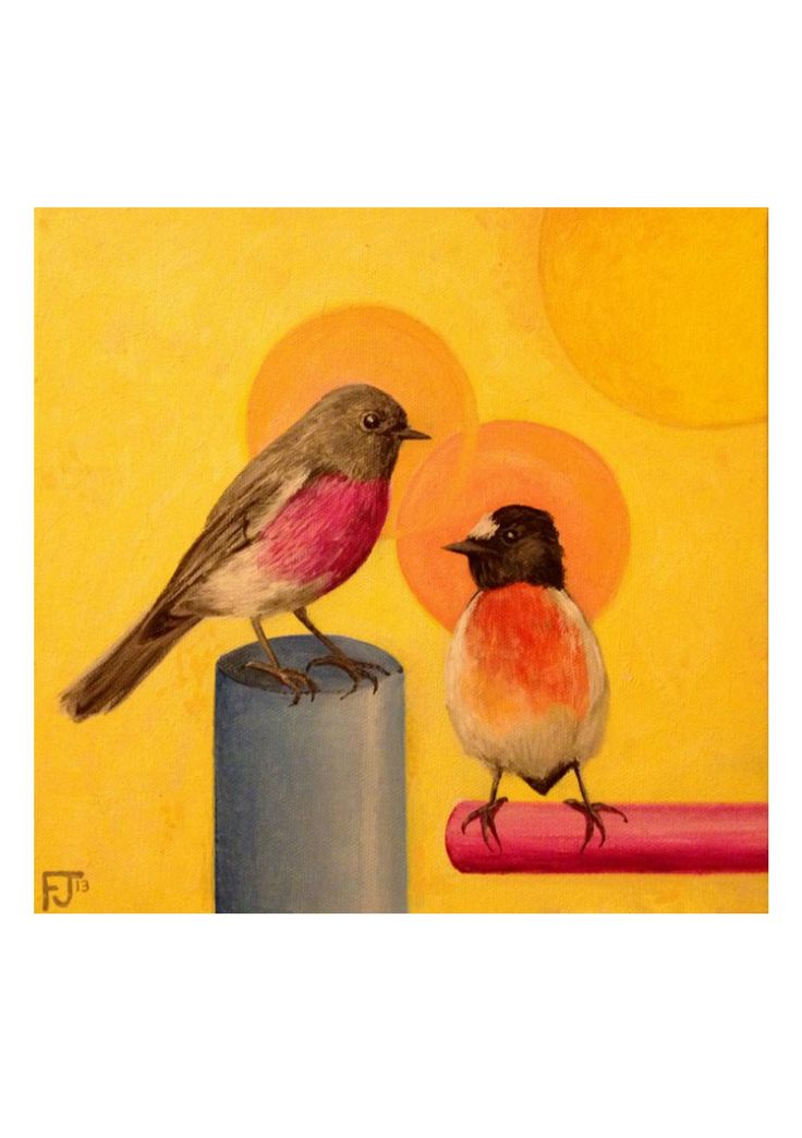 Certified carbon neutral print on A5 art paper (Forest Stewardship Council approved paper). Unlimited edition print signed on reverse side by Felicity Grabkowski. Surrounded by plain white border as per image (image inset).Featuring two friendly robins from neighbouring states - the Rose Robin and Flame Robin. Original artwork was painted in oil paint on canvas.