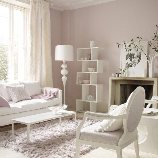 Pastel pink living room - I think adding a pop of neon yellow would take this from pretty to poetry.