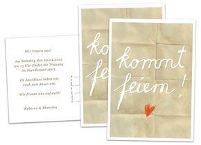 Einladungskarten Für Hochzeit Und Party   Kommt Feiern!   Beige   Inklusive  Individuellem Text Auf