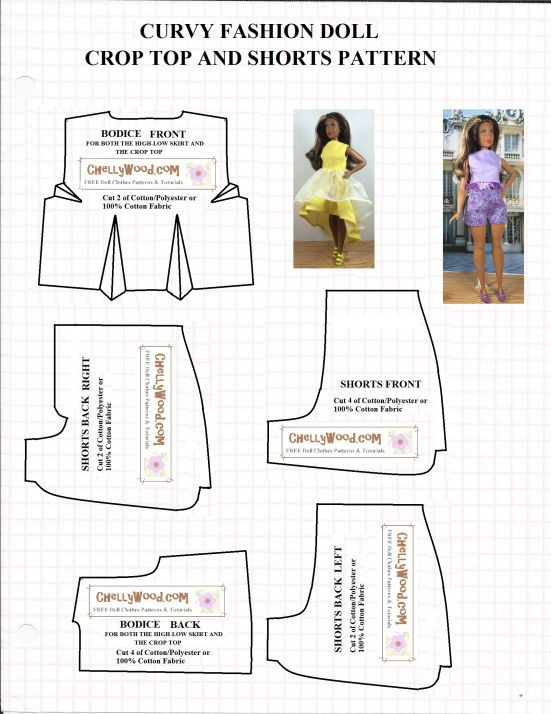 Free printable sewing pattern for crop top and shorts to fit Curvy Barbie dolls from Mattel's Fashionista line. Tutorials and patterns are free at ChellyWood.com