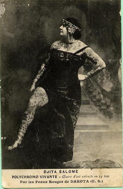 1900s (?) sideshow tattoo lady Djita Salome.