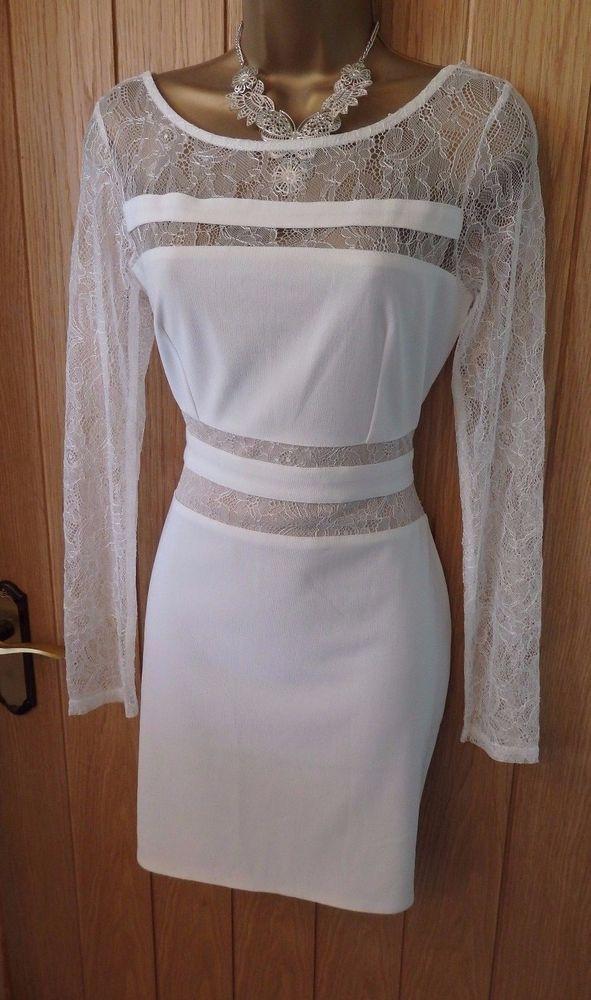 Women's MICHELLE KEEGAN LIPSY White lace panel bodycon DRESS UK 10 ( US 6 ) #Lipsy #Party