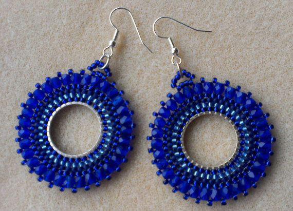 Cobalt blue beaded dangle earrings. Handmade. Made in Denmark. Etsy listing at https://www.etsy.com/listing/175891287/beaded-hoop-earrings-cobalt-blue-with