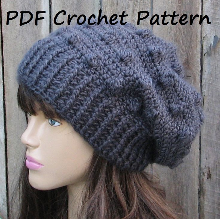 CROCHET PATTERN!!! Crochet Hat - Slouchy Hat, Crochet Pattern PDF,Easy, Pattern No. 60 on Luulla