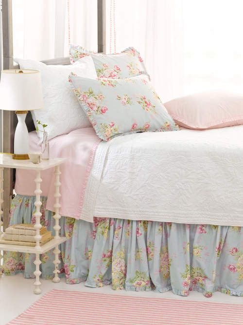 Katelyn's new room - coordinate the bed skirt and pillows into her comforter and do a solid on the bed
