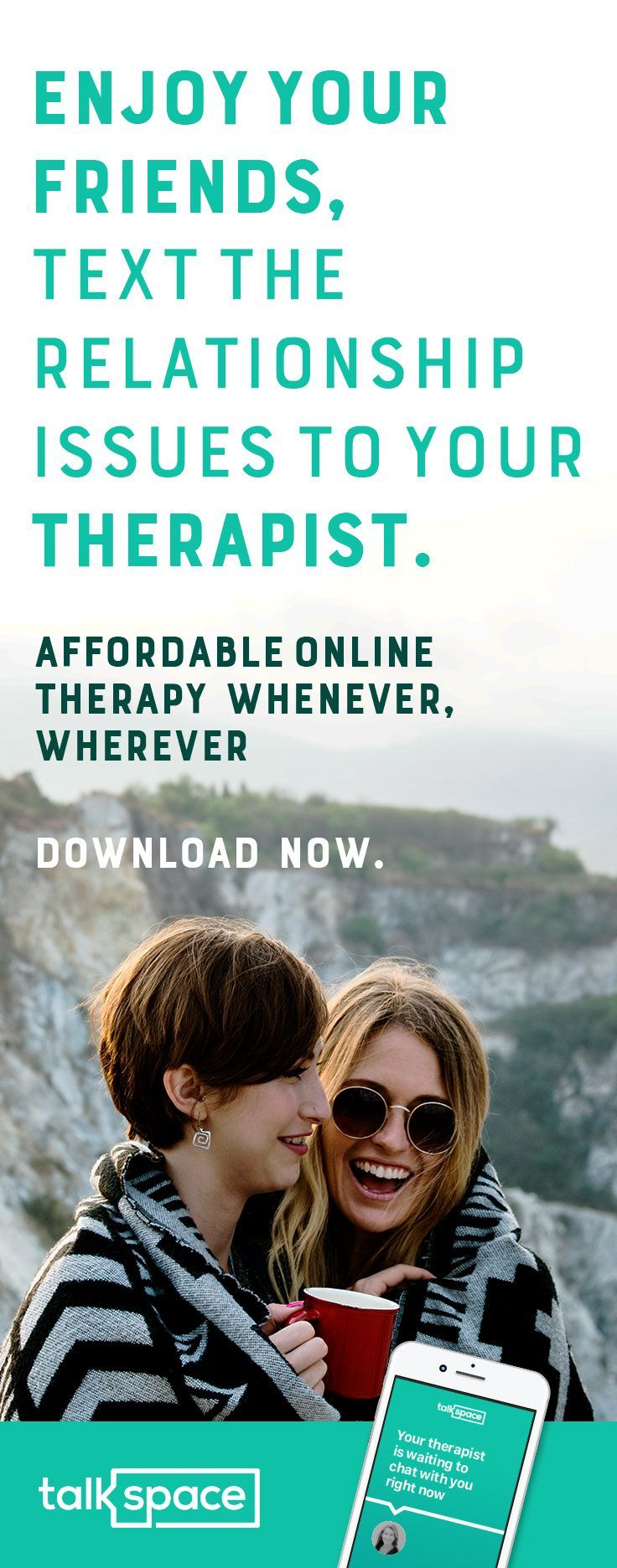 Affordable Online Relationship Therapy w/ Video, Audio and Unlimited Messaging. Plans start at $39/Wk! Chat Online w/ a Licensed Professional Therapist & learn how to reach your relationship goals now! Whether you need love advice, couples counseling, are struggling with your marriage, suffering from a broken heart, think your spouse is cheating, going through a breakup or simply need dating tips, Talkspace will match you to the perfect counselor for your needs. Download the app now!