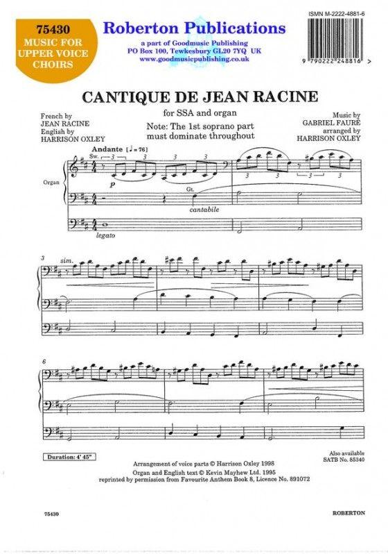 Faure G: Cantique De Jean Racine (Oxley) (Sheet Music) - Presto Classical
