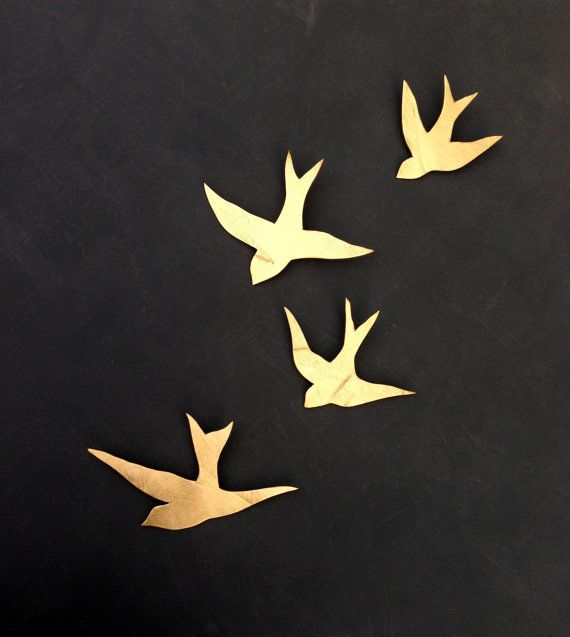 We fly together Gold porcelain wall art swallows Modern ceramic gold bird wall sculpture