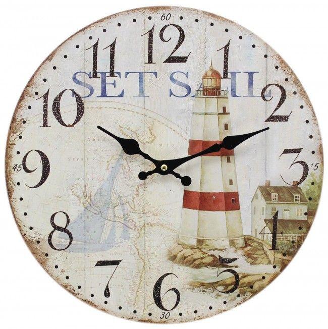 Wooden Nautical Hanging Wall Clock 34cm Lighthouse Clock Wall Clock Shabby Chic Wall Clock Nautical Clocks