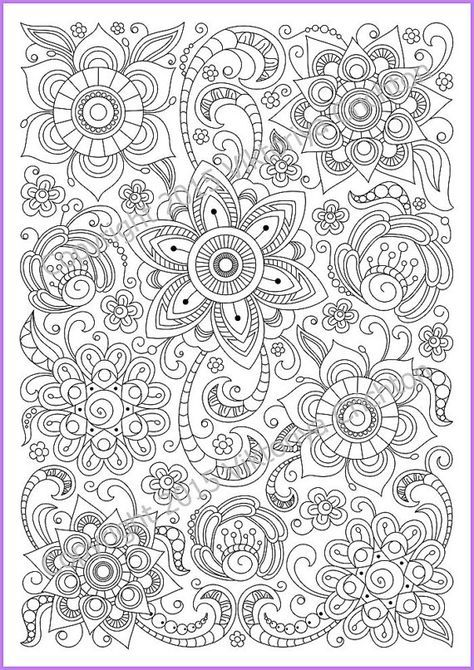 Flower Abstract Doodle Zentangle Coloring Pages Colouring Adult