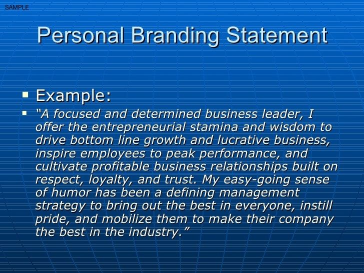 Personal Brand Statement Example Google Search Mission Your