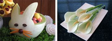 Carved Melon Bunny and Calla Lilies in Vegetable and Fruit Carving Course