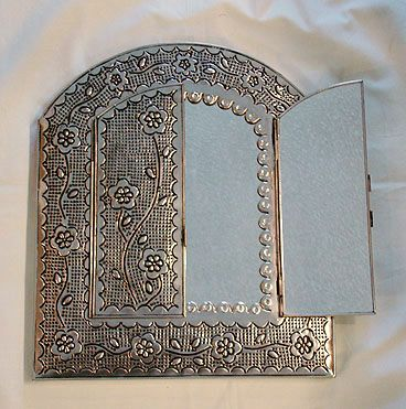 Mexican tin mirror, with doors!