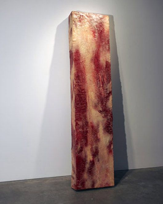 "This slightly uncanny piece of modernistic meat is actually not made from meat, but from wax, oil, paint polystyrene, stage blood & latex, by artist John Isaacs, who titled it ""Further uses of the dead to the living (meat)"". John Isaacs is also the creator of the Blob Man."
