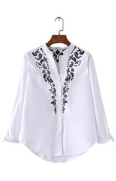 Trendy-Road-Style-Shop-Online-Woman-Fashion-Street-top-shirt-summer-style-vneck-floral-embroidery-white