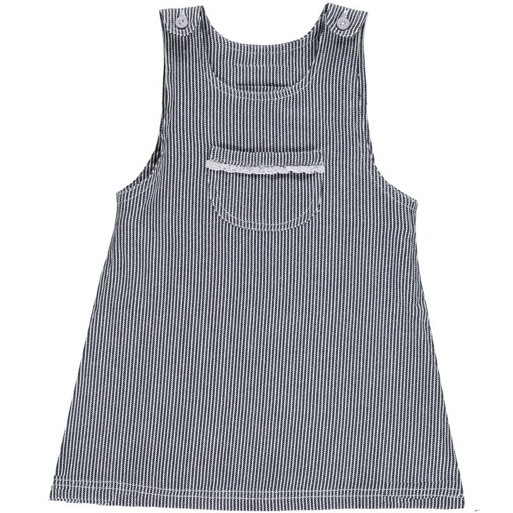 Okker-Gokker organic GOTS certified made in India, 100% Organic Cotton.  Soft woven twill, dark navy blue & white striped pinafore style dress, pocket on chest with mauve cotton lace trim and mauve buttons on shoulders. $54.95 http://www.danskkids.com.au/collections/spring-summer-2015/products/okker-gokker-dark-navy-blue-and-white-striped-dress