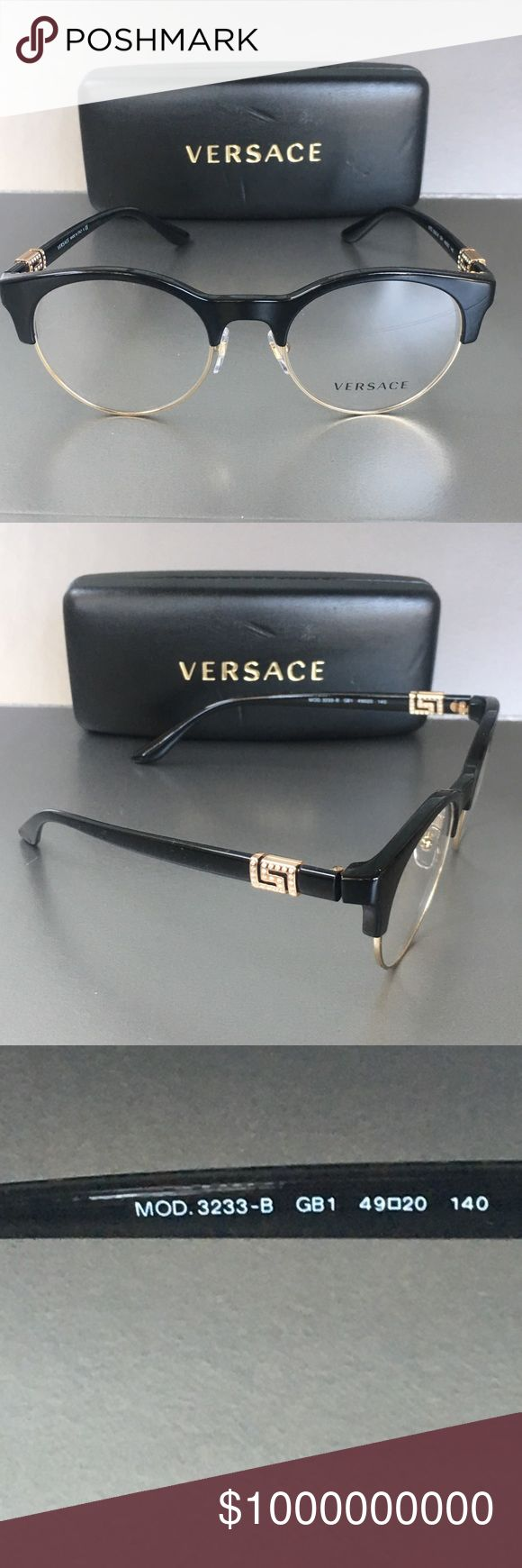 Versace Eyeglasses Eye Glasses Supple curves, clean lines, and truly fashion-forward styles are the hallmark of the Versace brand, and Versace glasses uphold the label's distinguished legacy.  * Gender: Women * Material: Acetate * Style No: MOD-3233B * Color: GB1-Black/Gold with diamantés.  Floor model. Might have a slight scratches on the frames/lenses as well as on the case.   Comes with Hard case & manufacturer's lenses.  No trade. Make me an offer!! Versace Accessories Glasses
