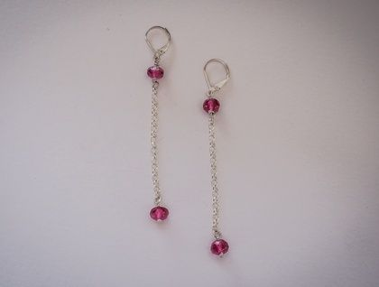 Sterling and HOT PINK Czech Glass Earrings