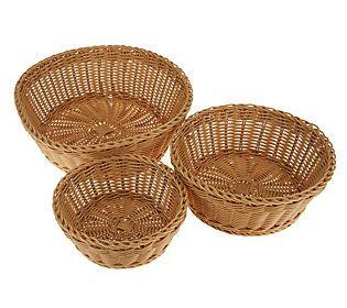 Prepology S/3 Round or Rectangle Dishwasher Safe Nesting Baskets