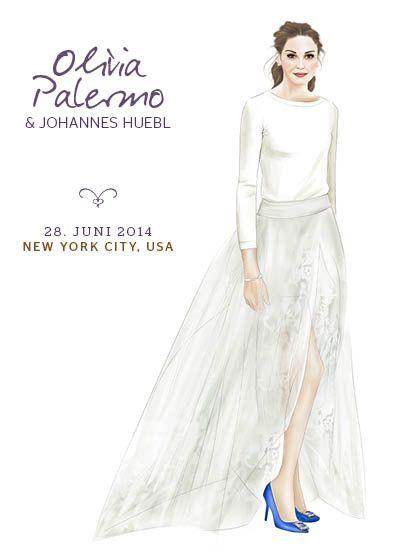 Olivia Palermo trug zur Hochzeit einen schlichten cremefarbenen Kaschmir-Pullover von Carolina Herrera, weiße Shortsund einen Tüllrock.