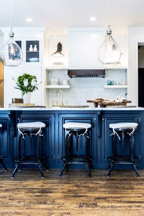 Blue Kitchen Cabinetry Glass Globe Pendants Rustic Wood