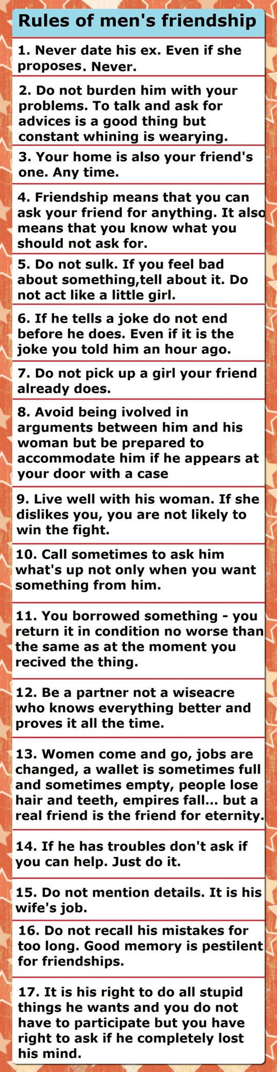 Bro Code's Most Important Rules (I wonder what the original language was, because some of the translations are pretty awkward.  Still good advice, though.)