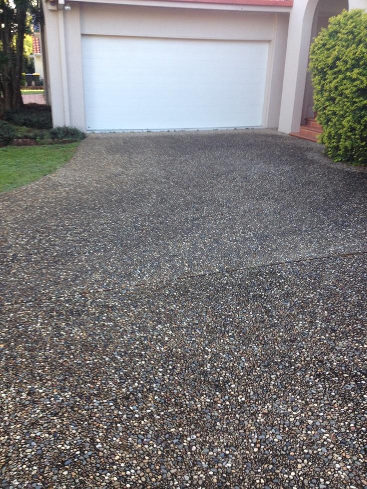 #Pebble #Crete #Driveway Before #cleaning,  www.completeclean.com.au #Pressurecleaning #Brisbane